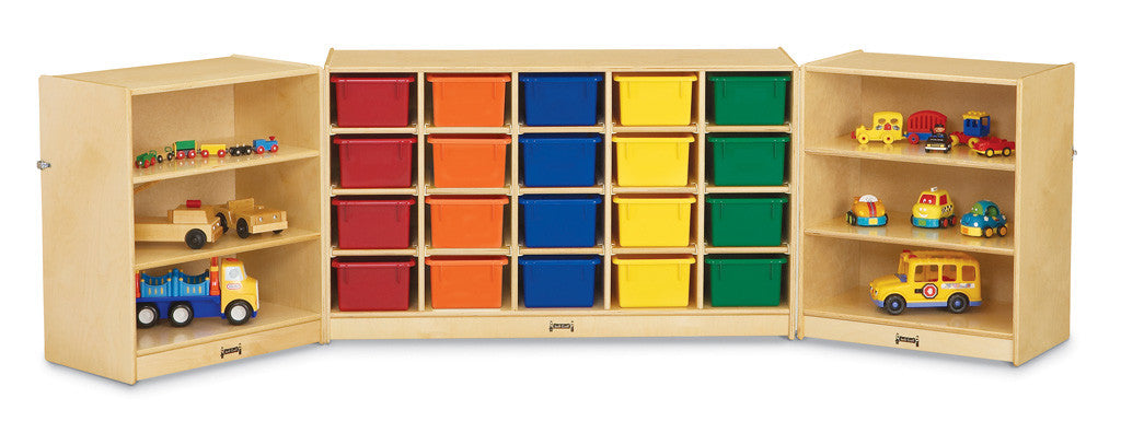 Jonti-Craft® 20 Cubbie-Tray Triple Fold-n-Lock - with Colored Trays