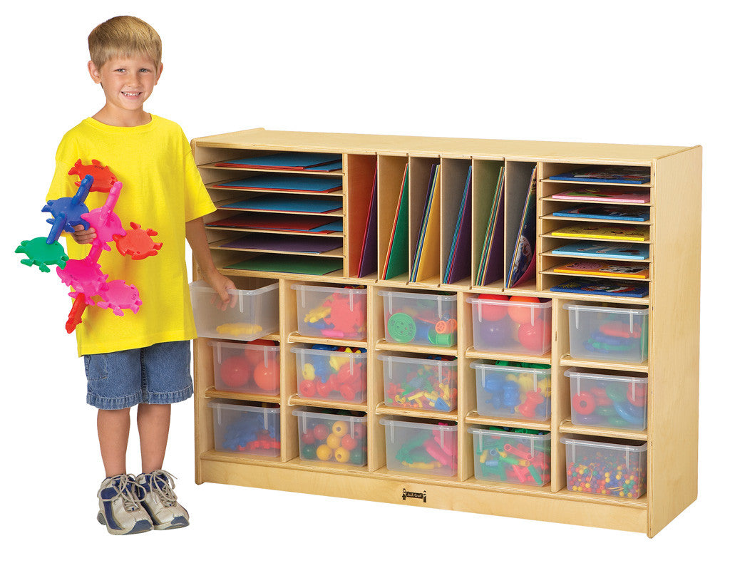 Jonti-Craft® Sectional Cubbie-Tray Mobile Storage - with Clear, Colored or No Trays