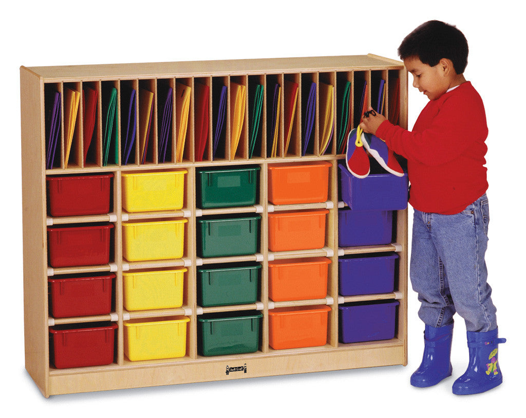 Classroom organizer with 20 bins and 20 slots