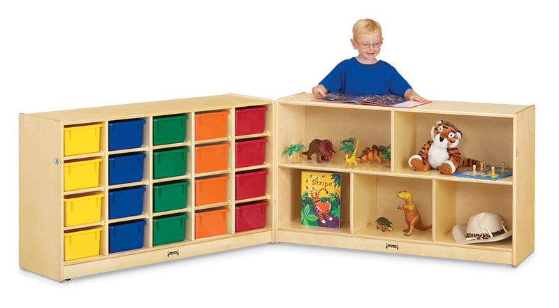 Jonti-Craft® 20 Cubbie-Tray Fold-n-Lock - with Colored Trays