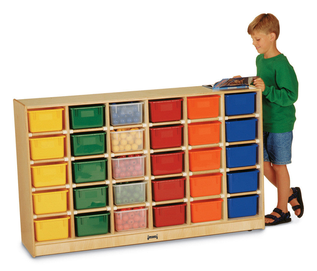 Jonti-Craft® 30 Cubbie-Tray Mobile Storage - with Clear, Colored or No Trays