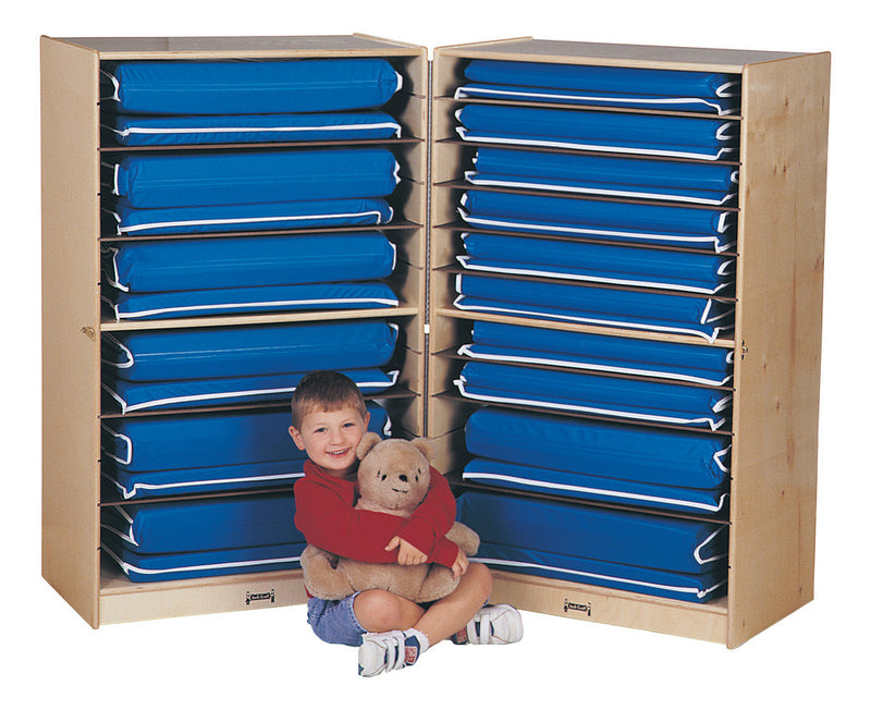 Fold and lock rest mat storage cabinet