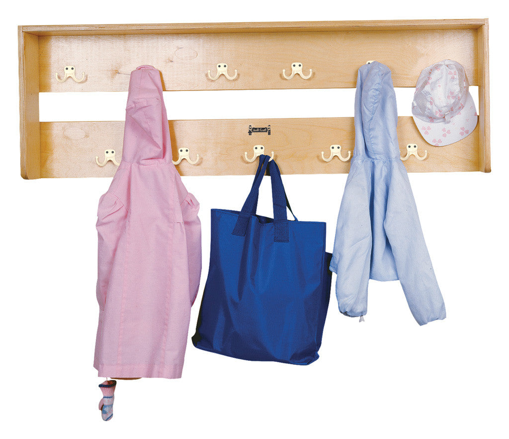 Wall mounted coat hanging rack with 11 hooks