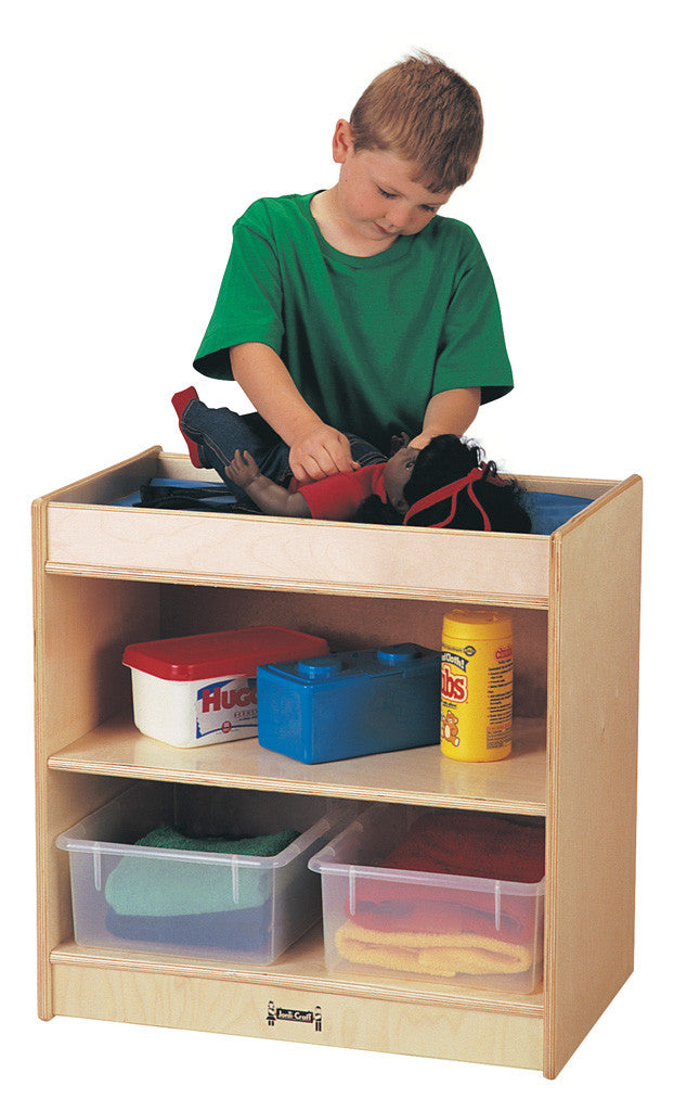 Doll changing table with shelving