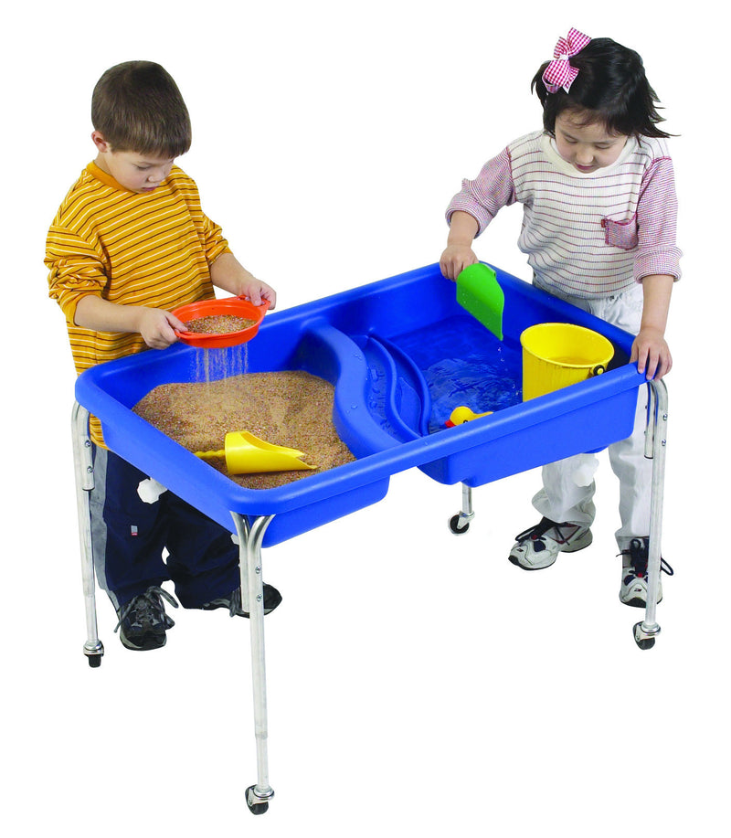 Sand and water table for sensory play, 2 compartments