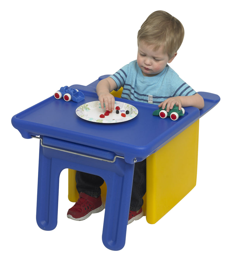 Plastic Tray rests on a chair to provide a play or eating surface close to the child.