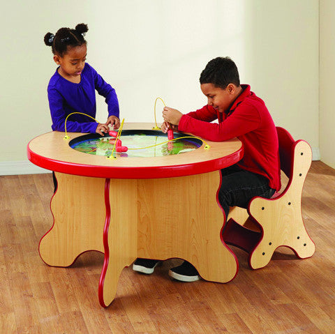 Safari themed child height table with red edge banding