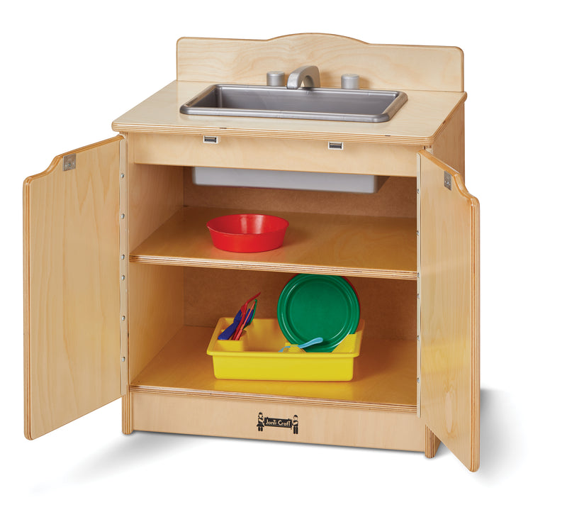 Play sink with open cabinet