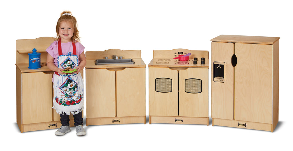 4 piece play kitchen set, refrigerator, sink, cupboard, range
