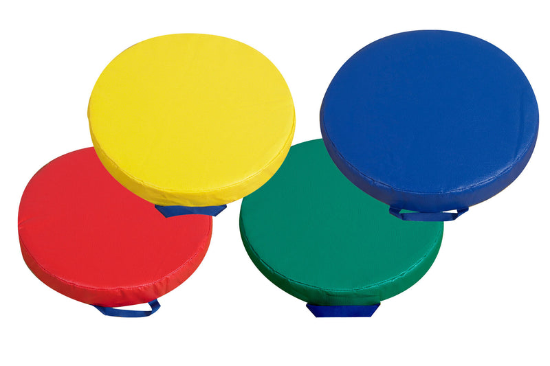 Set of floor round floor cushions with handles