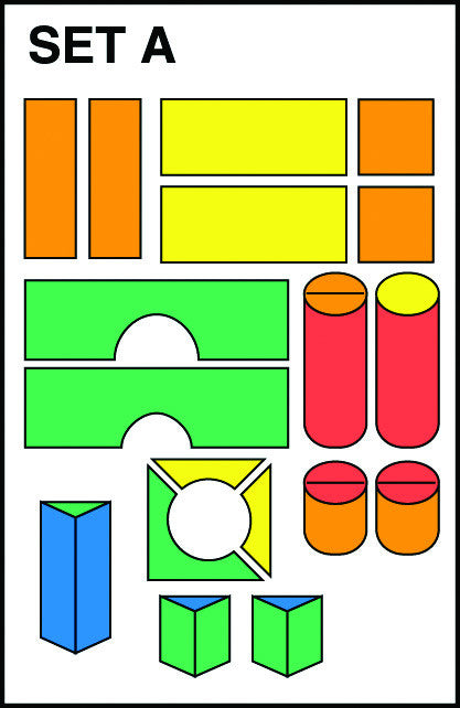 Schematic of shapes in soft block set