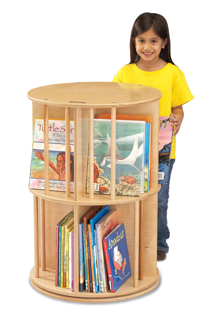 Rotating two tier book shelf