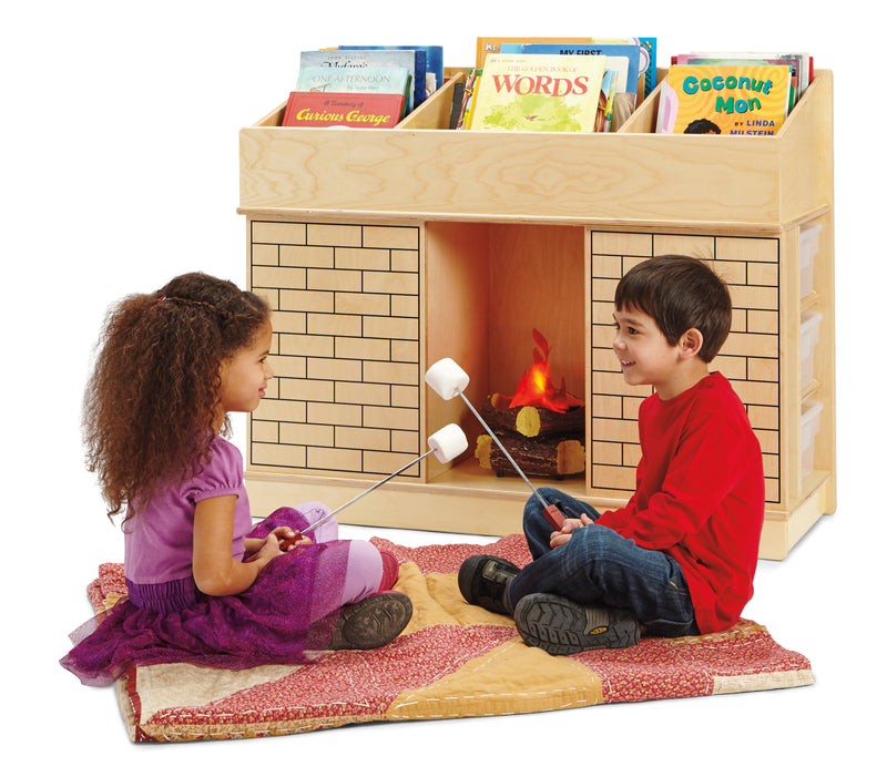 Fireplace themed bookshelf with two kids