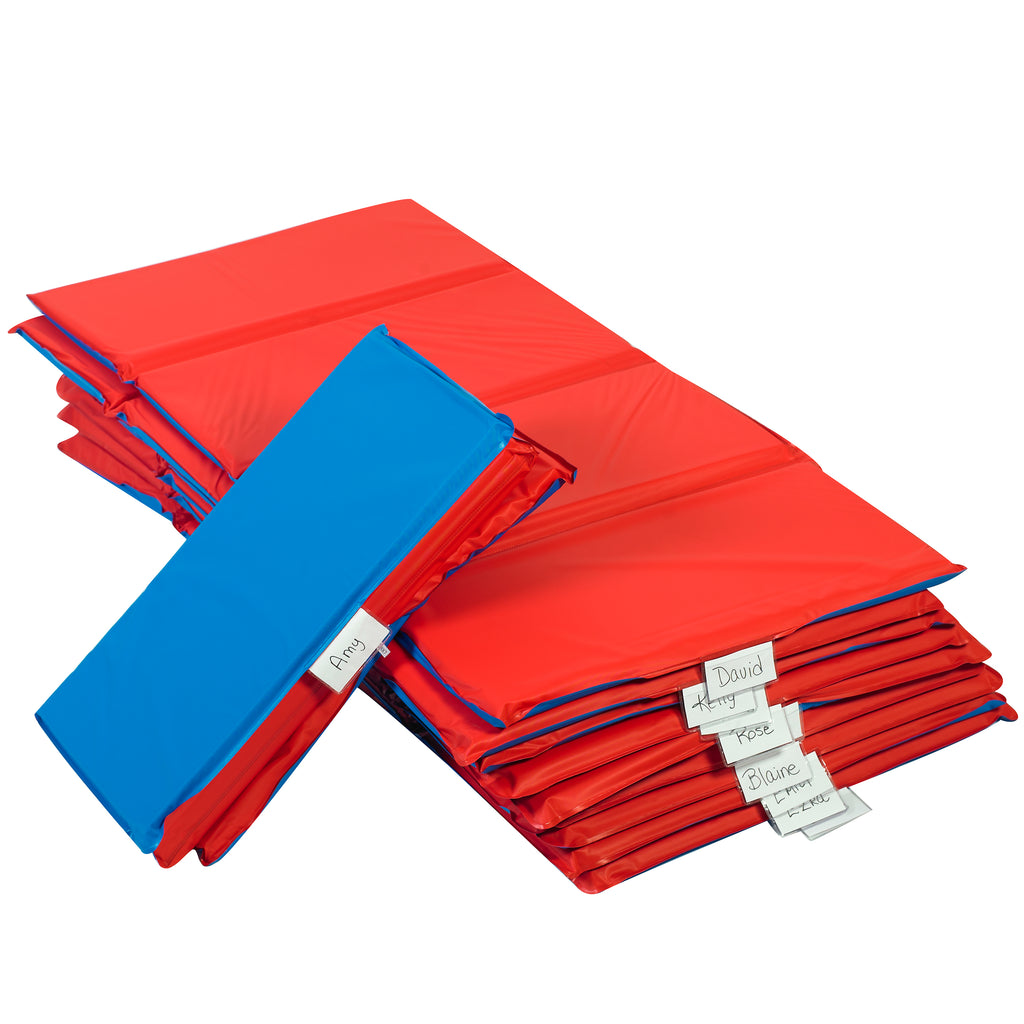"1"" Infection Control Folding Rest Mat-10 Pack Red/Blue"