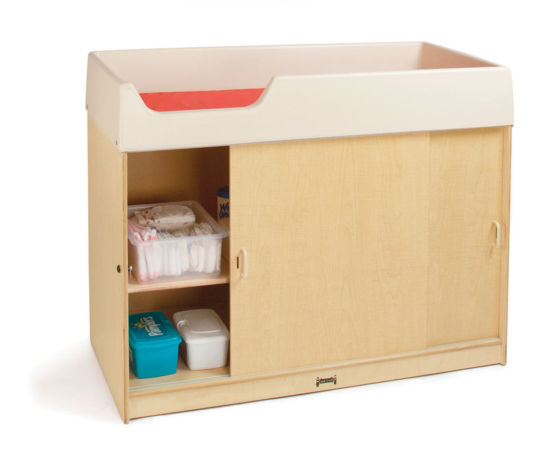 Diaper Changing Table with open cabinet door