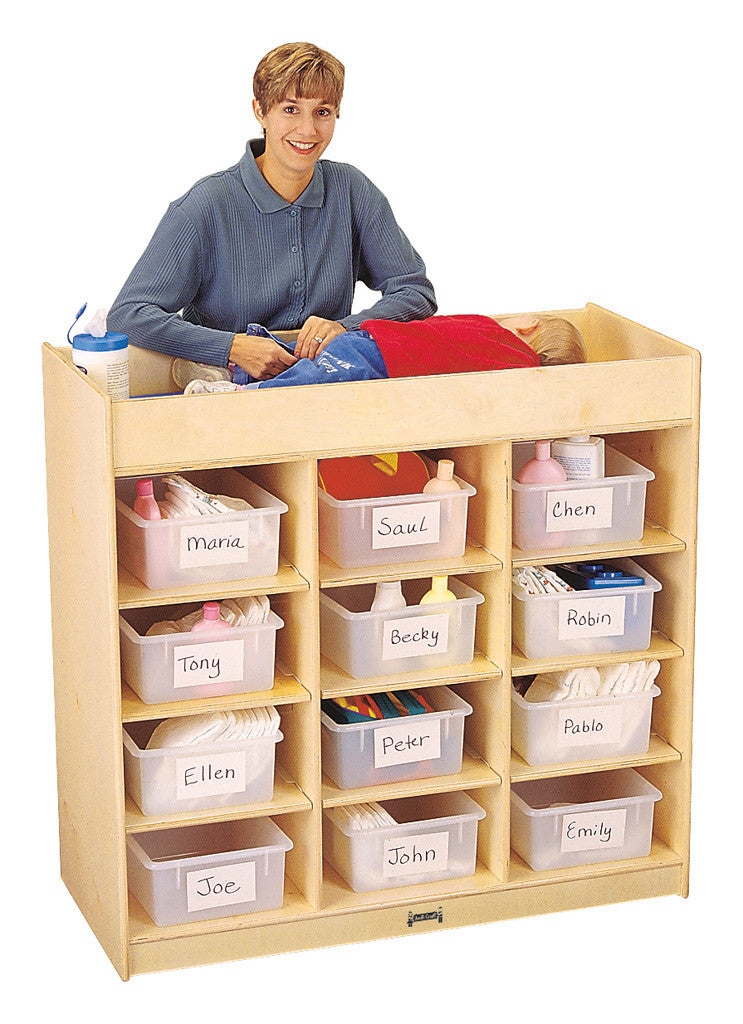 Diaper changing station with 12 storage tubs