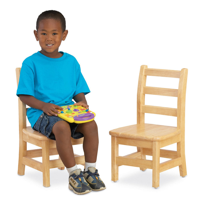 two ladderback chairs with child