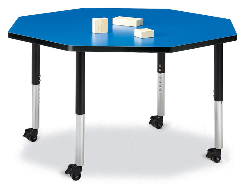 "Berries® Octagon Activity Table - 48"" X 48"", Mobile"
