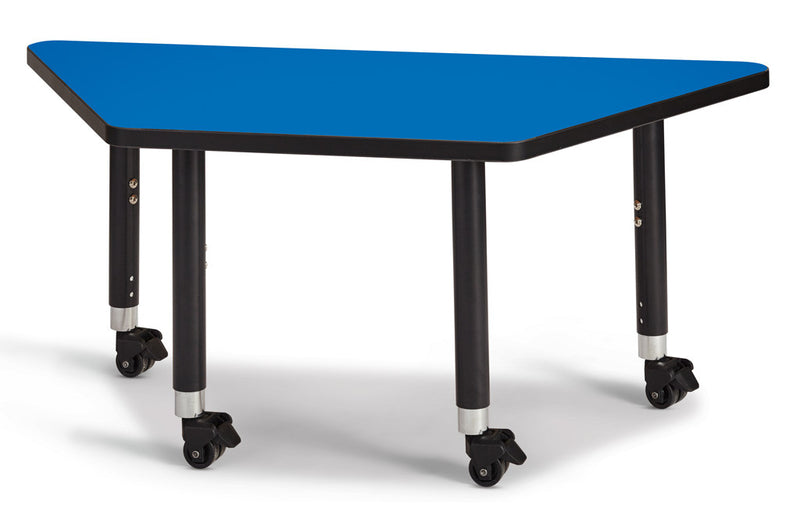 "Berries® Trapezoid Activity Tables - 24"" X 48"", Mobile"