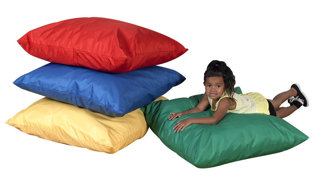 "Primary Colors, Four 27"" Cozy Floor Pillows"