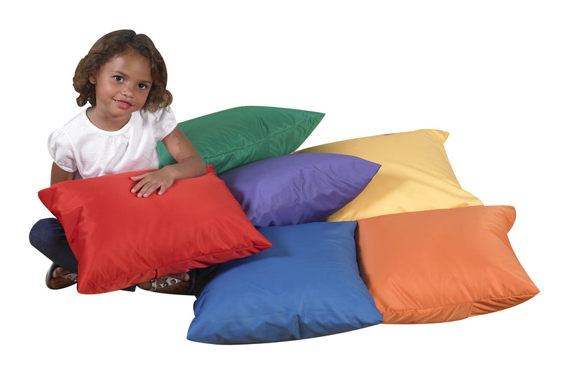 "SET OF SIX 17"" SOFT PILLOWS-Primary"