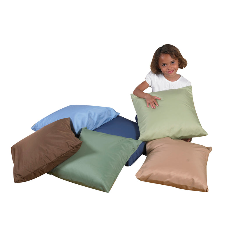 "SET OF SIX 17"" SOFT PILLOWS-Woodland Colors"