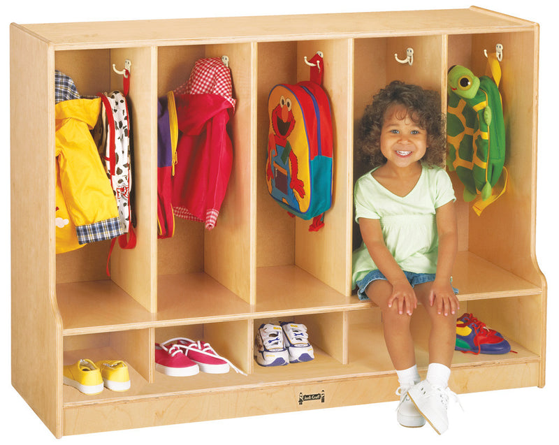 Jonti-Craft® Toddler 5 Section Coat Locker with Step - without Trays