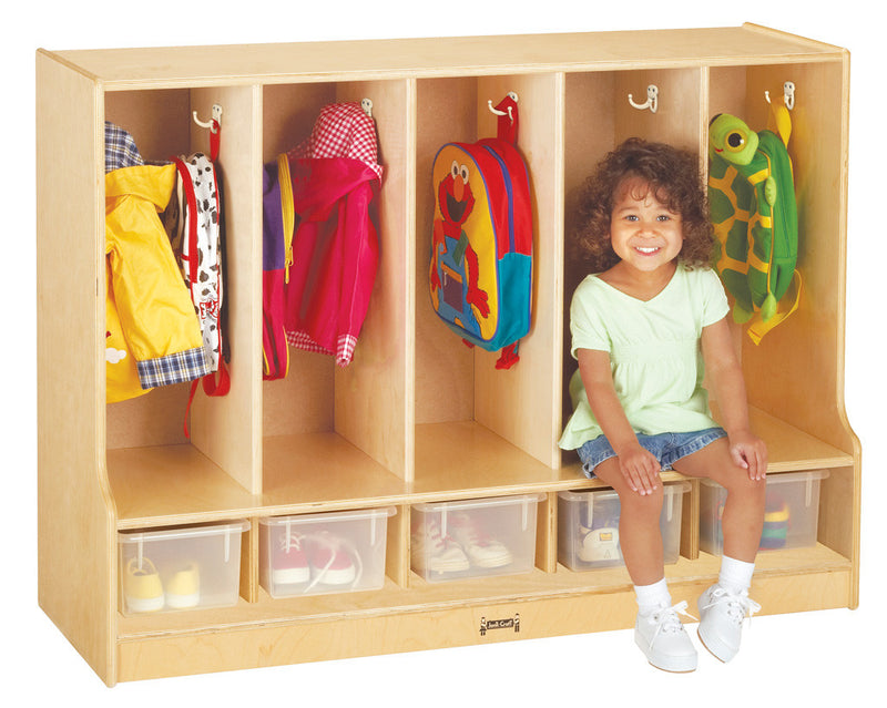 Jonti-Craft® Toddler 5 Section Coat Locker with Step - with Clear Trays
