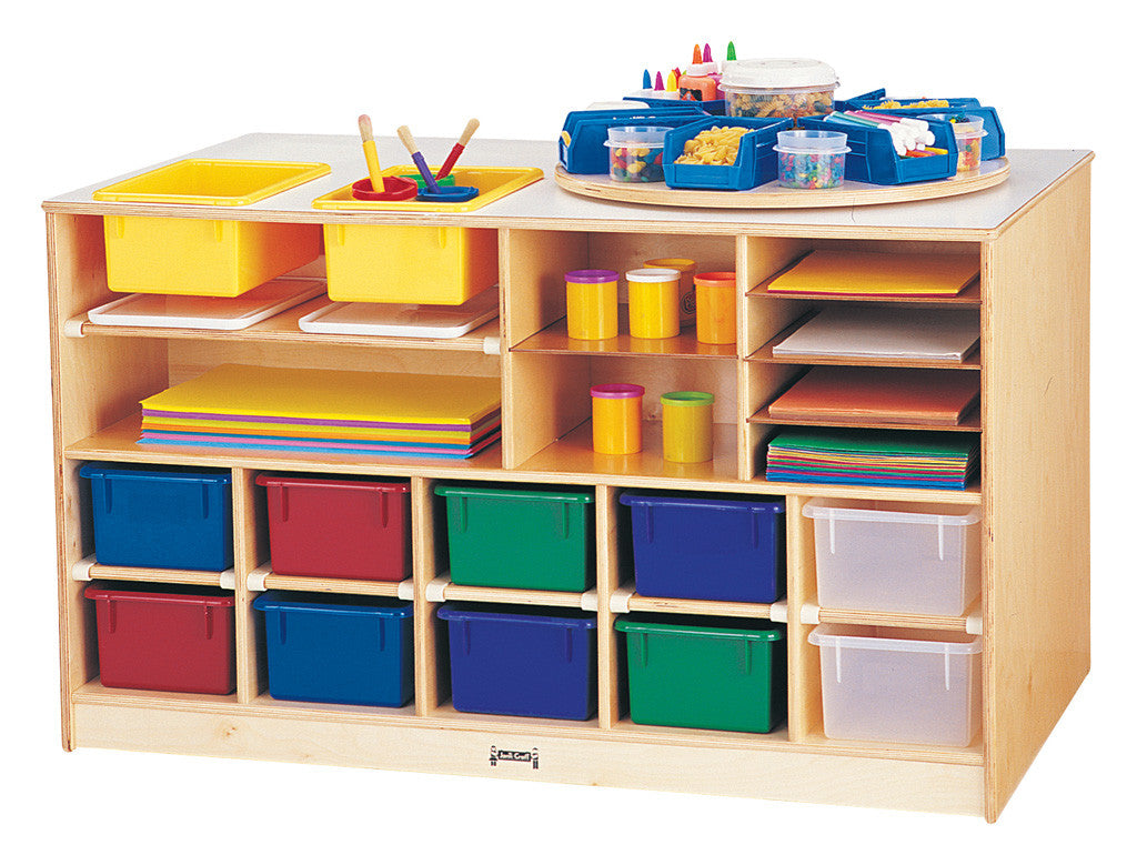 Mobile Twin Storage Island - with Colored Trays