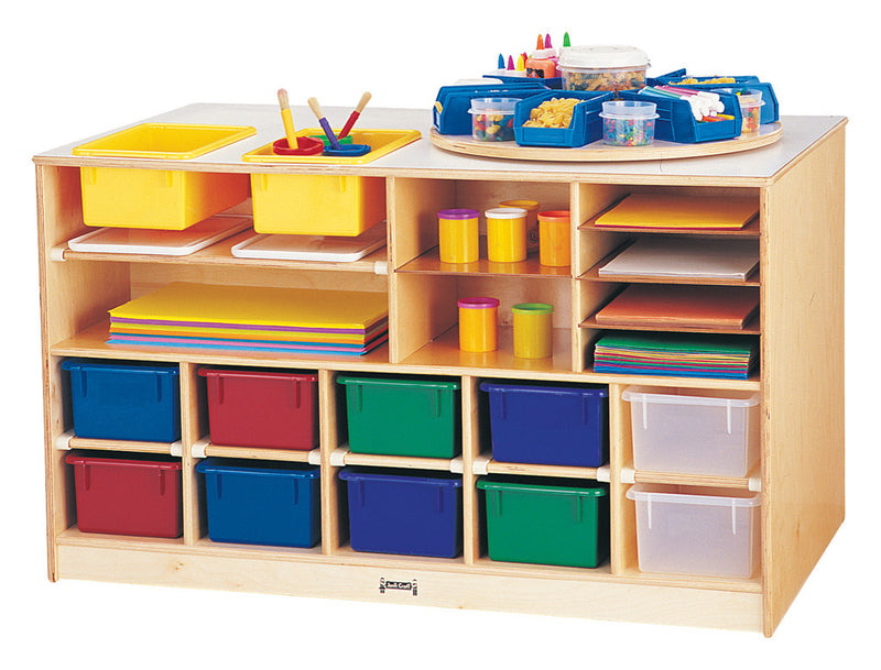 Jonti-Craft® Mobile Twin Storage Island - with Colored Trays
