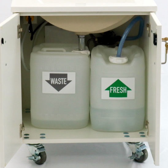 Britten extra fresh water tank on all portable sinks