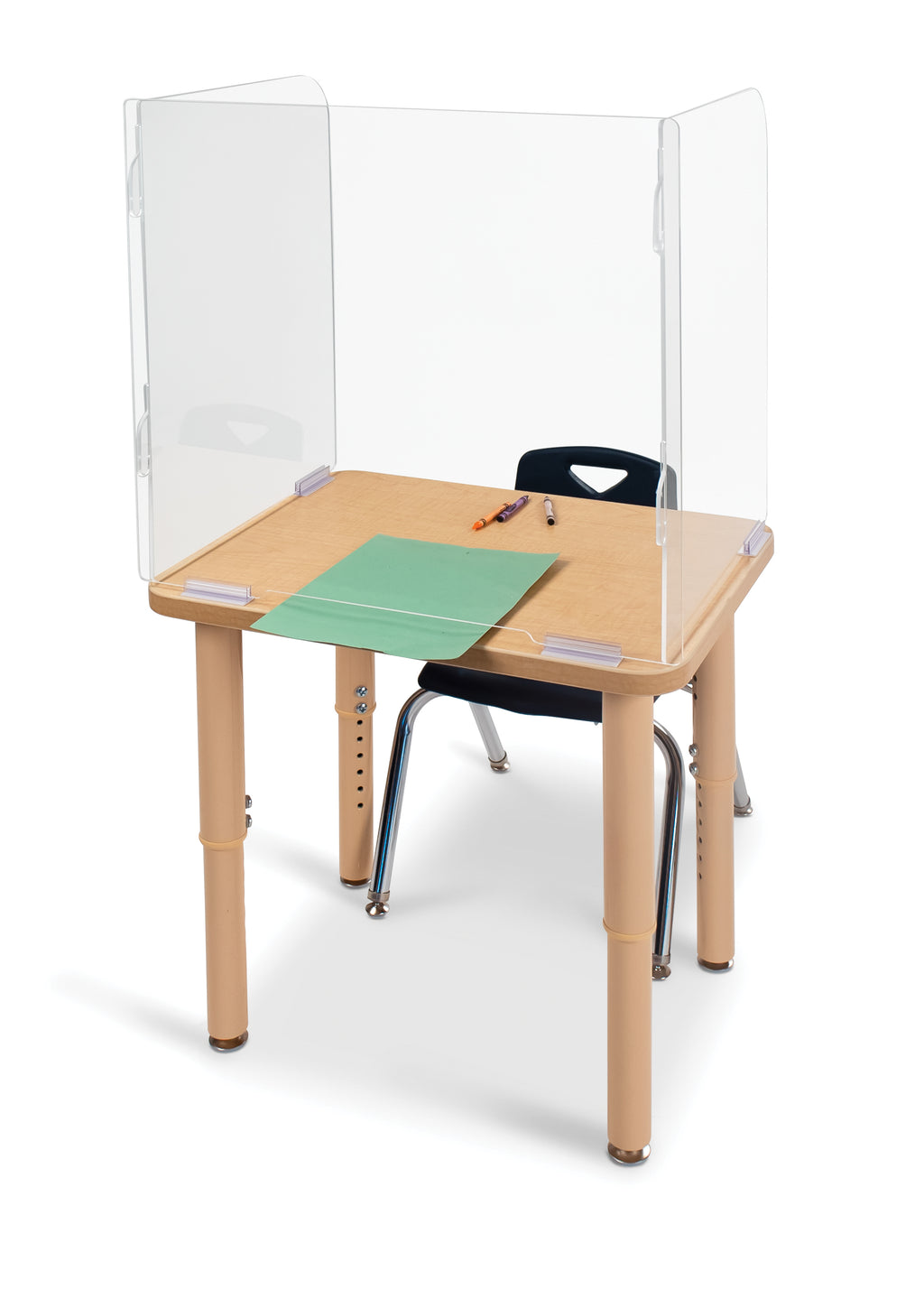 "5-Pack of See-Thru Student Desk Top Shields 23.5"" High"