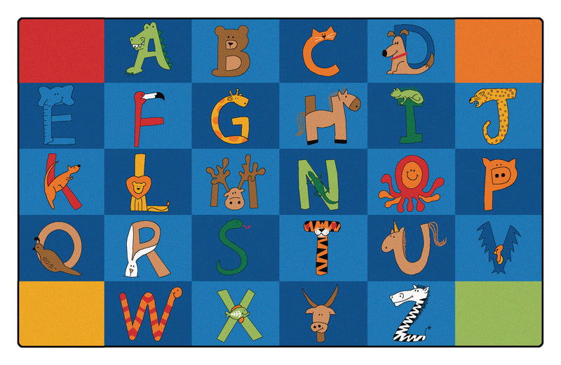 "A to Z Animals Carpets  7'6"" x 12' Rectangle Top Down View"