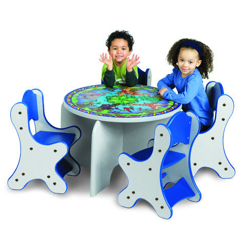 ANIMAL FAMILIES TABLE & 4 BLUE CHAIRS - SPECKLETONE FINISH