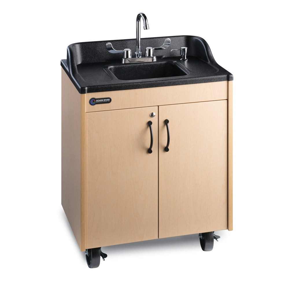 Ozark River Lil' Premier Portable Child Height Sink-Maple with Black or Stainless Steel Basin