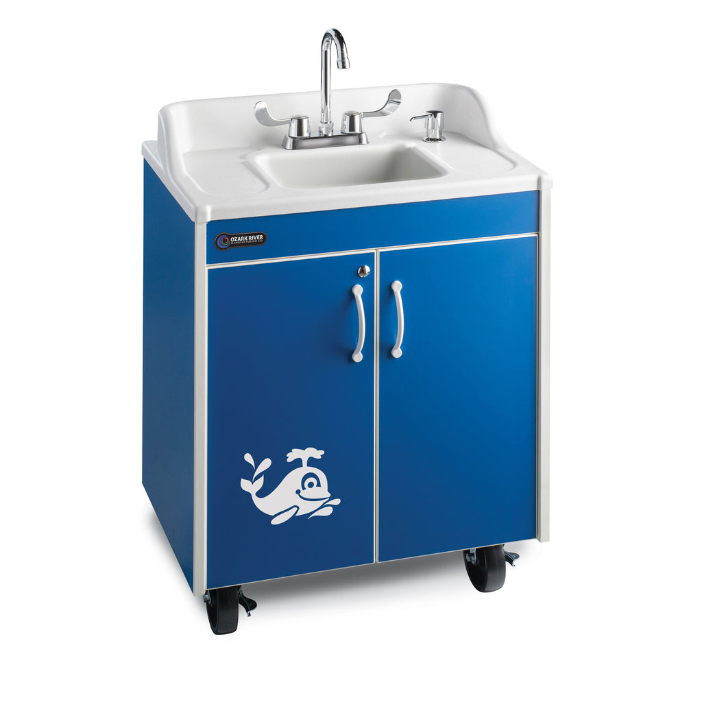 Ozark River Lil' Premier Splash Portable Child Height Sink-Blue with White Basin