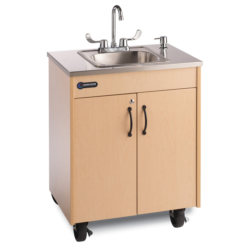 Ozark River Lil' Premier Portable Child Height Sink-Maple with Stainless Steel Basin and Top