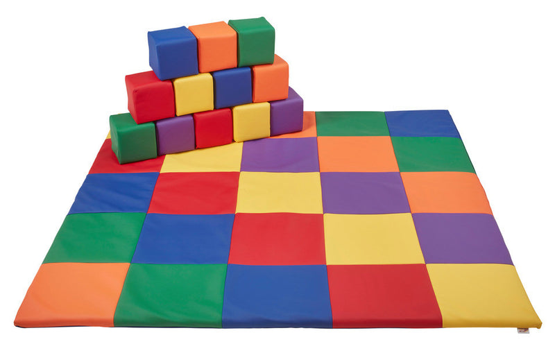 12pc Tod Block & 1 Patchwork Toddler Mat - Primary