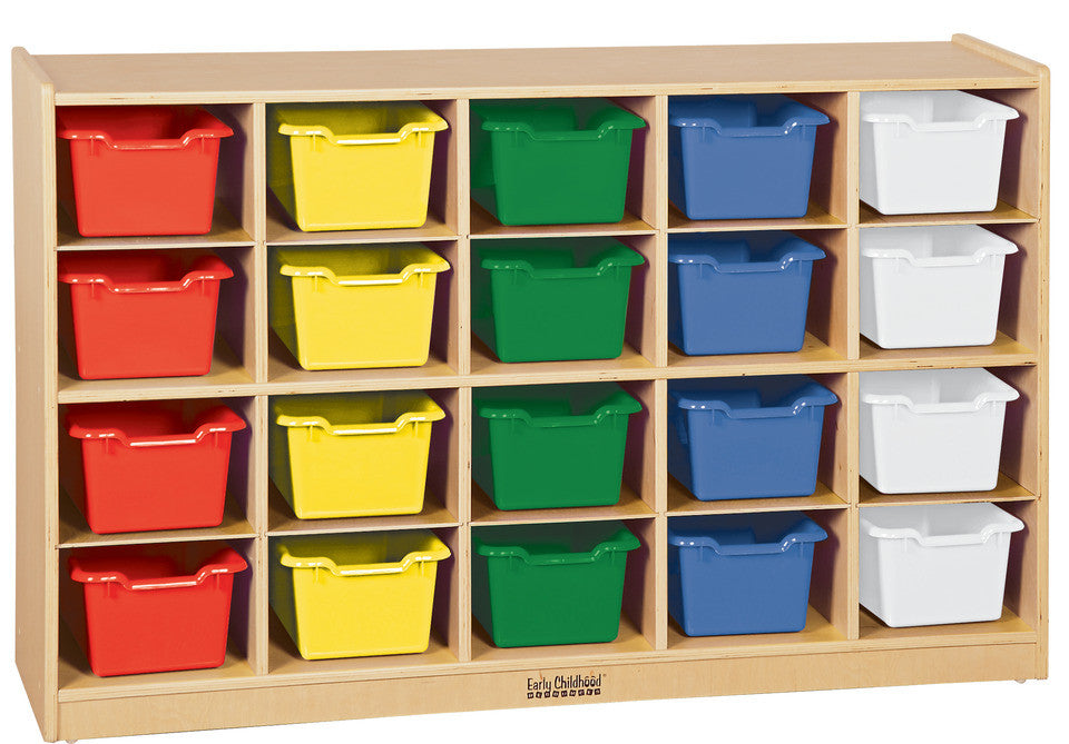 Birch 20 Cubby Tray Cabinet w/ Assorted Bins