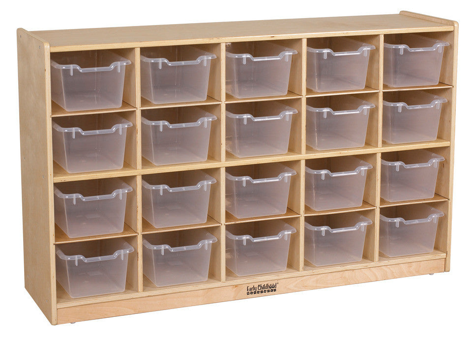Birch 20 Cubby Tray Cabinet w/ Clear Bins