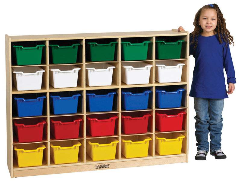 Birch 25 Cubby Tray Cabinet w/ Assorted Bins
