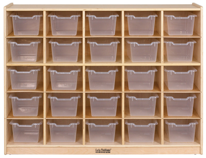 Birch 25 Cubby Tray Cabinet w/ Clear Bins