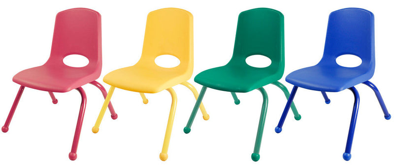 "12""School Stack Chair w/ Matching Painted Legs- Set of 6"