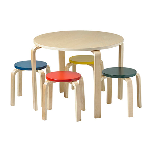 Bentwood Table and Stools Set, Multicolored
