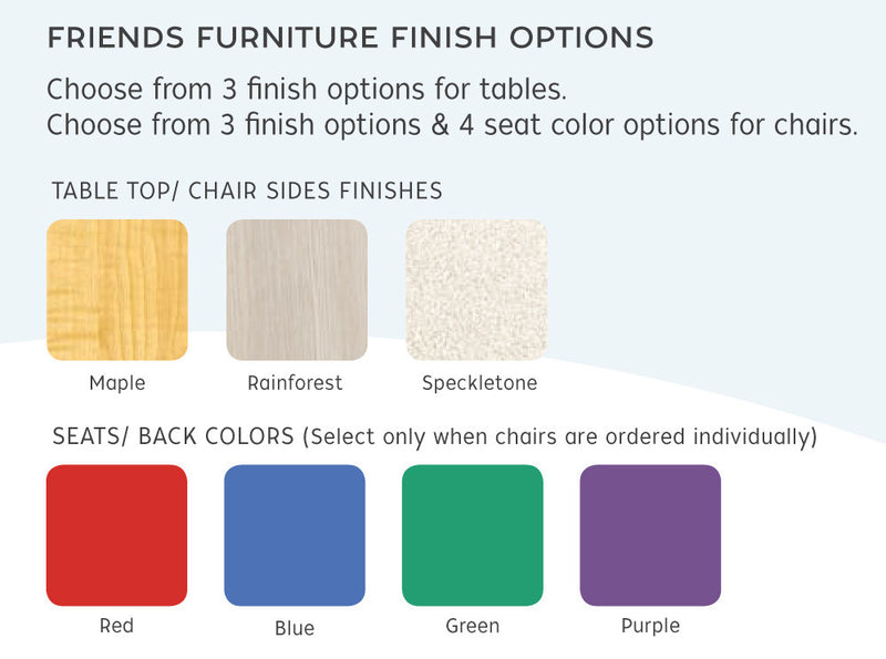 Color choices for FRIENDS TABLE & 4 CHAIRS,