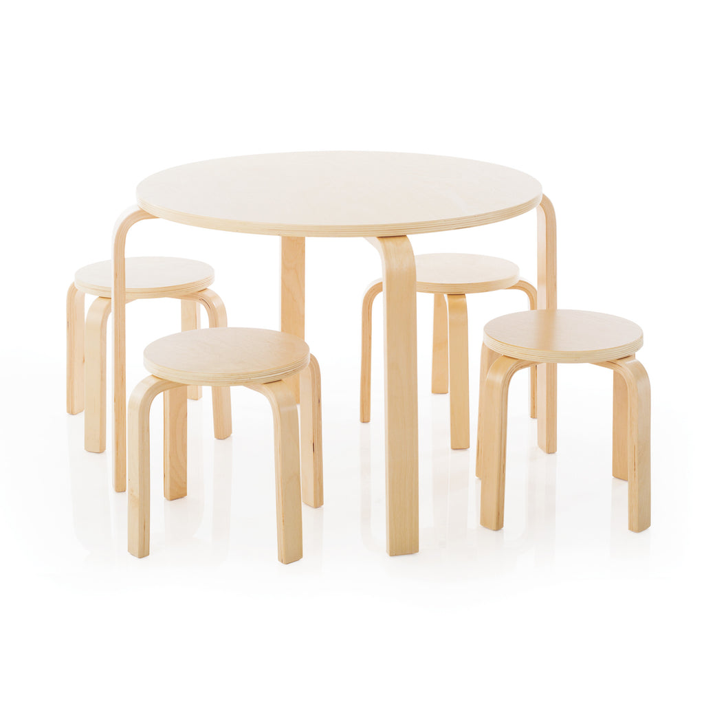 Nordic Table Set - Round Table with Four Natural Stools