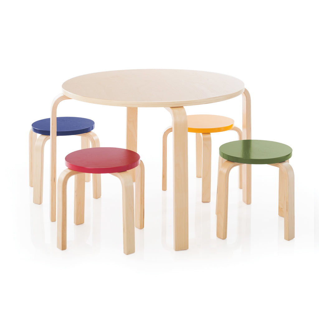 Round wood table and 4 stools with colored seats