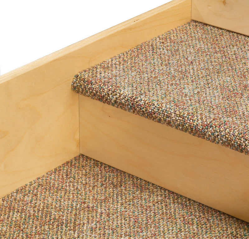 Tiny Tots Loft with Bins close up of carpeted stairs