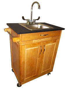"Monsam Portable Sink - Wood Cabinet 36"" Tall"