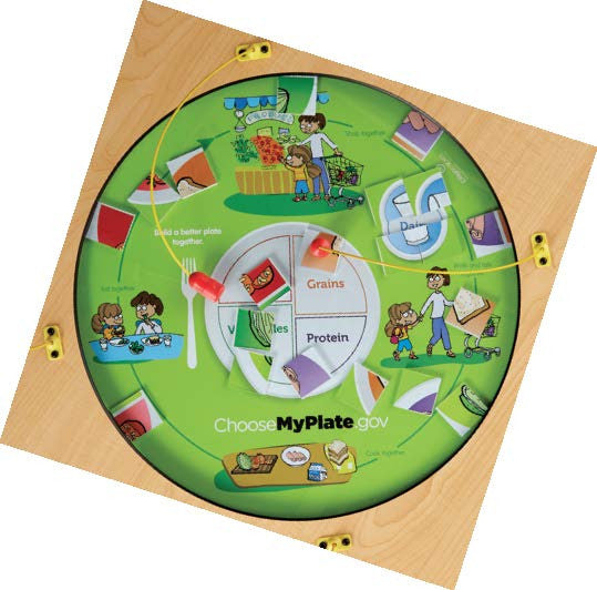 MyPlate Top View of Magnetic Play Table Shows Food Groups and Healthy Choices